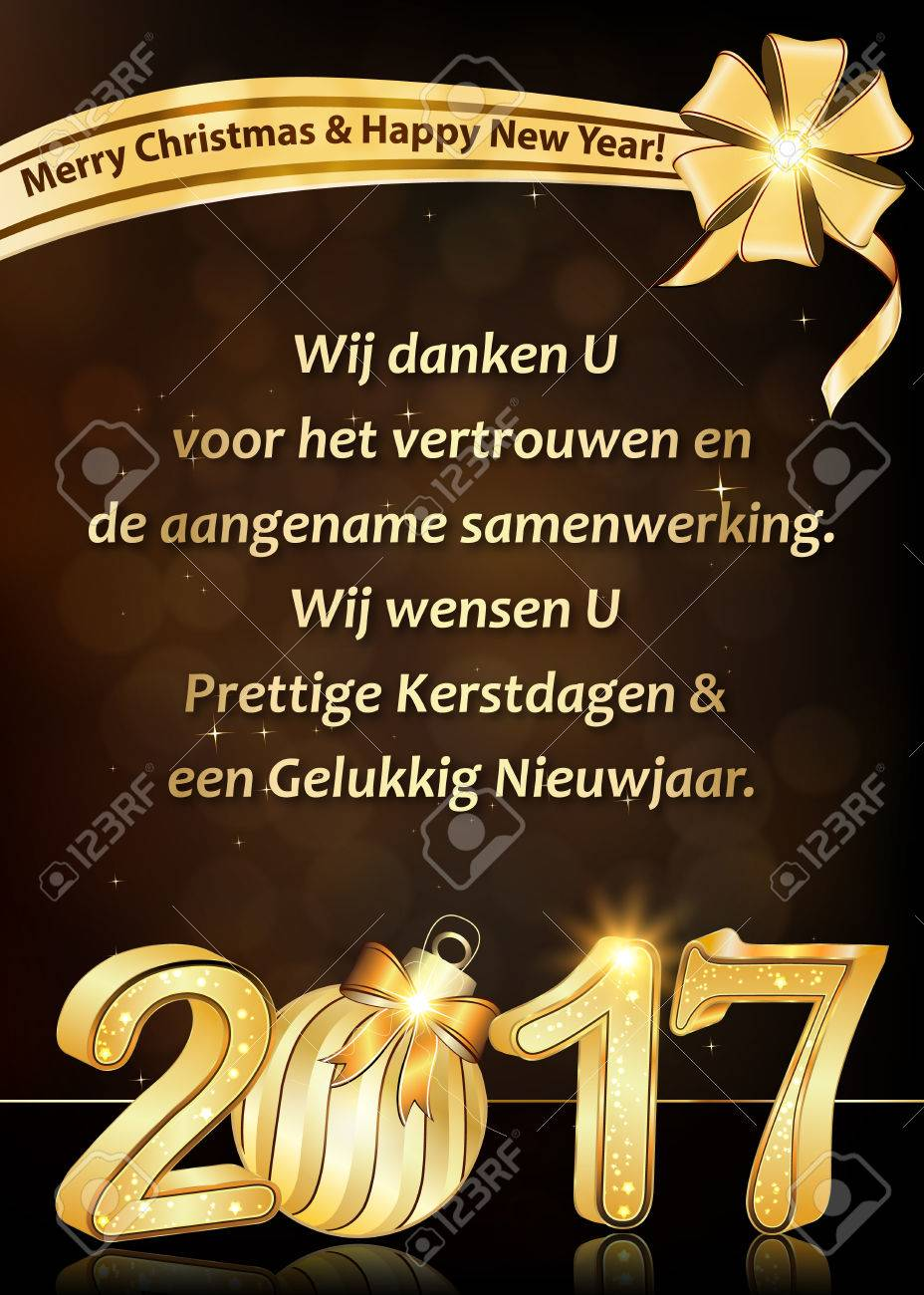 stock photo thank you dutch business new year greeting card we wish to thank you for your trust and cooperation we wish you merry christmas and happy