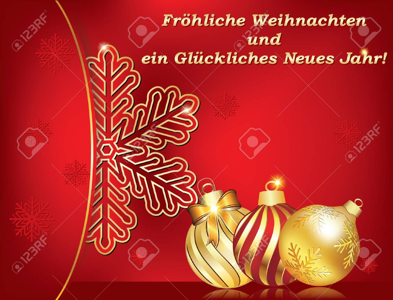 german greeting card for winter holiday text translation merry christmas and happy new year