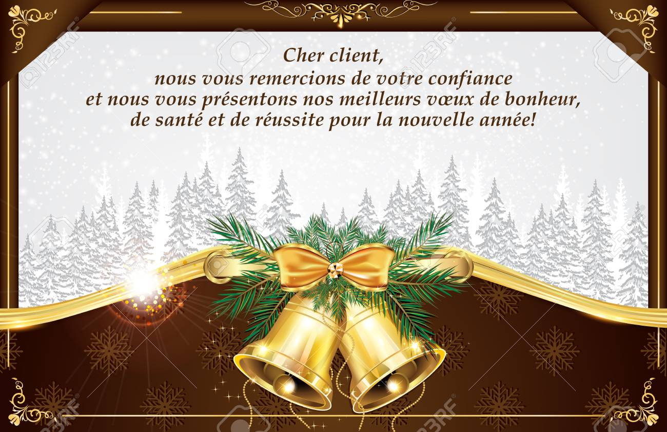French Business Greeting Card For New Year. Text Translation ...
