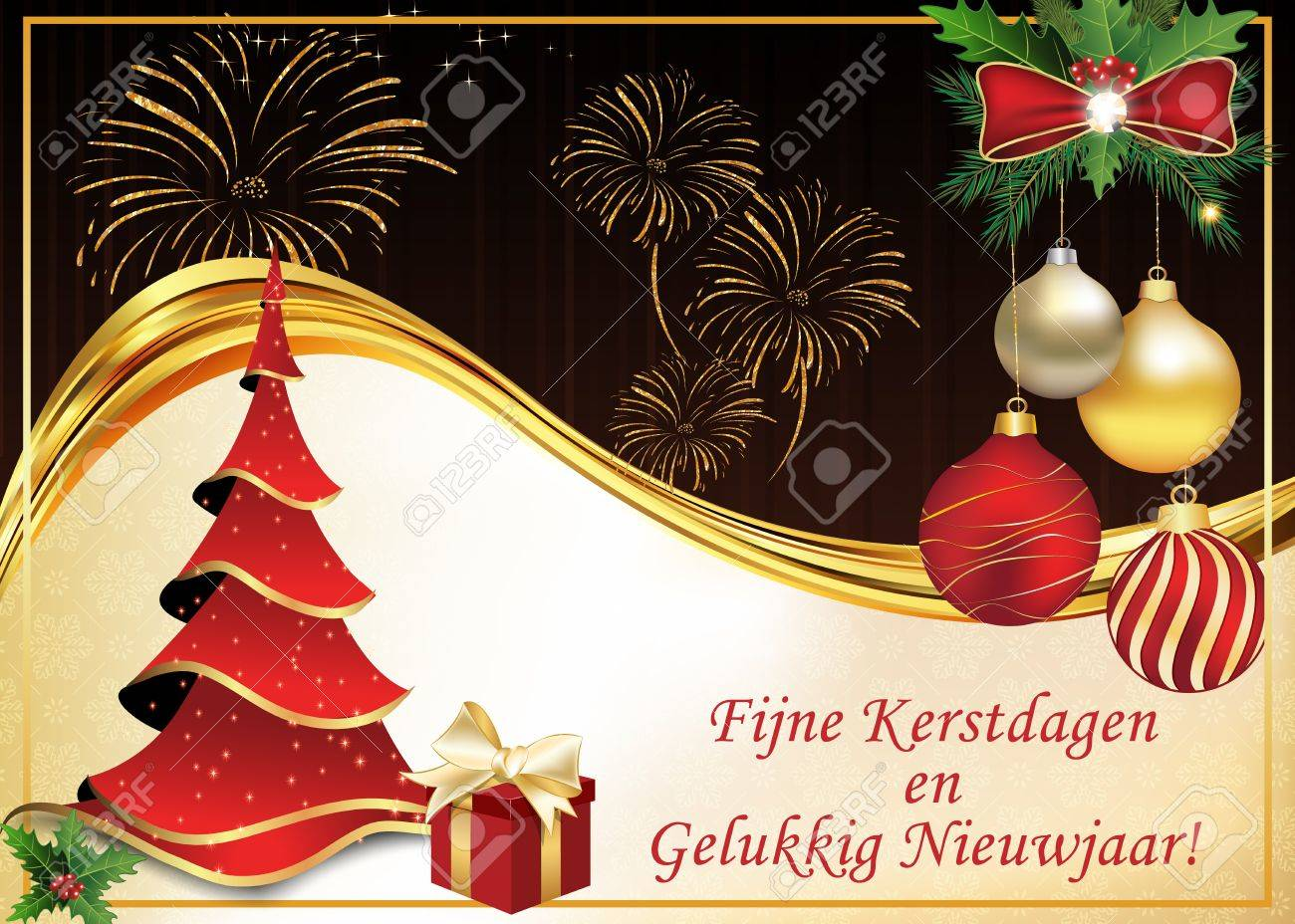 dutch greeting card merry christmas and happy new year text translation print colors