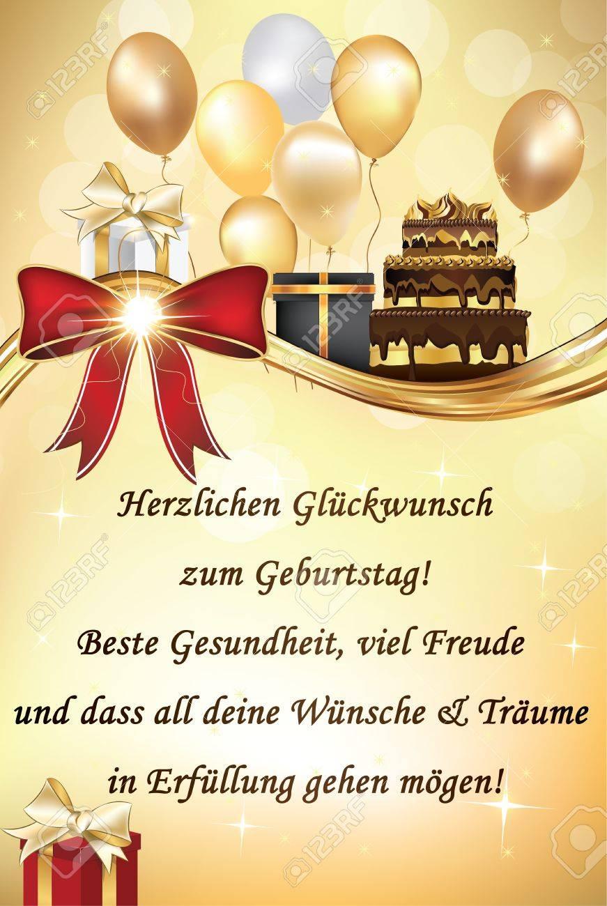 Carte De Voeux Joyeux Anniversaire Allemand Avec Des Ballons Et Des