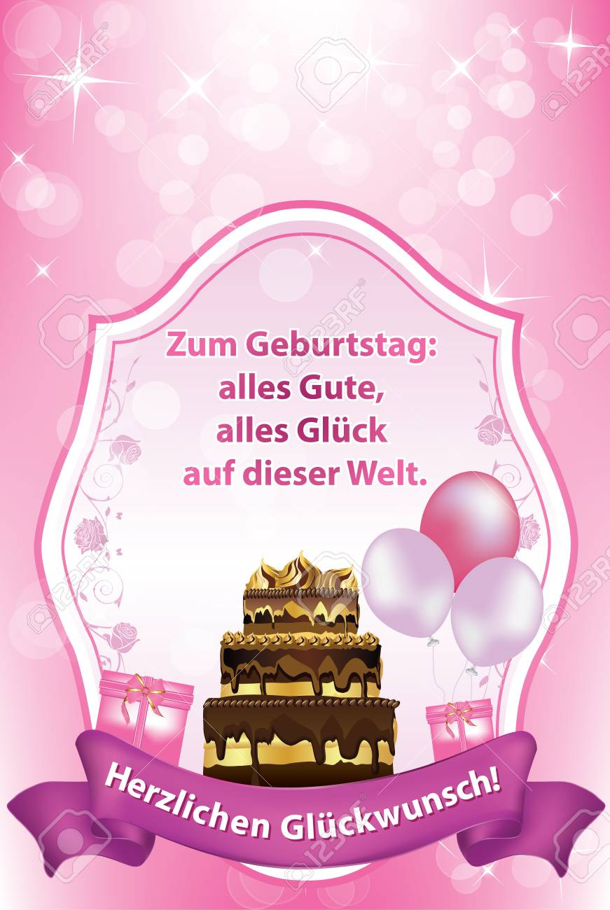 German Birthday Greeting Card With Cake And Balloons Especially
