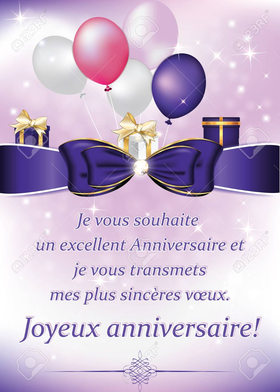 French Birthday Greeting Card With Balloons And Gifts I Wish