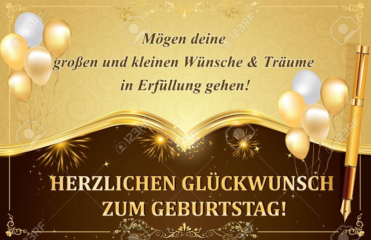 German Birthday Greeting Card: May All Your Dreams And Wishes ...