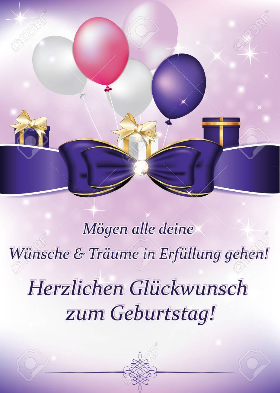 German Birthday Greeting Card May All Your Dreams And Wishes Come True Happy