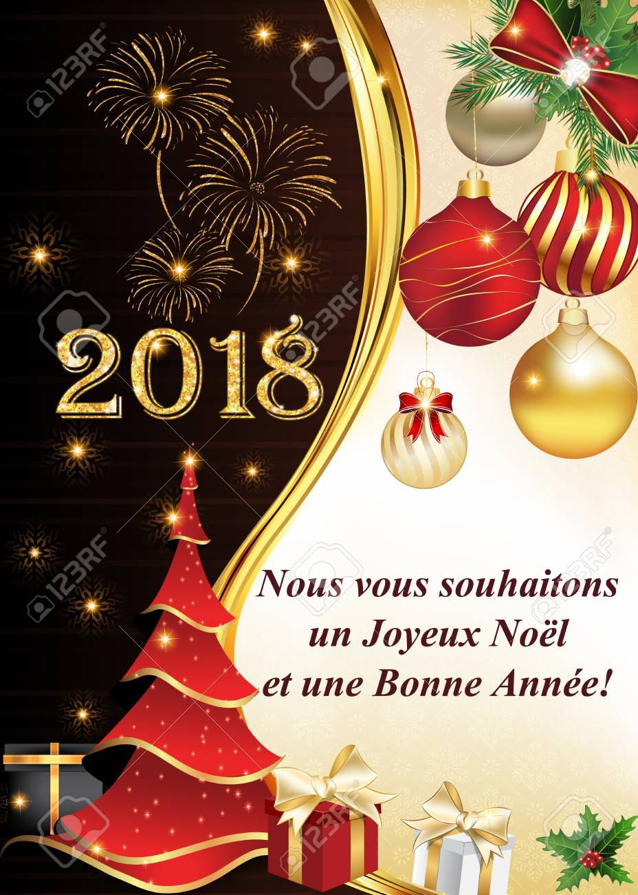 Joyeux Noel Twilight.French Greeting Card For Winter Holidays We Wish You A Merry
