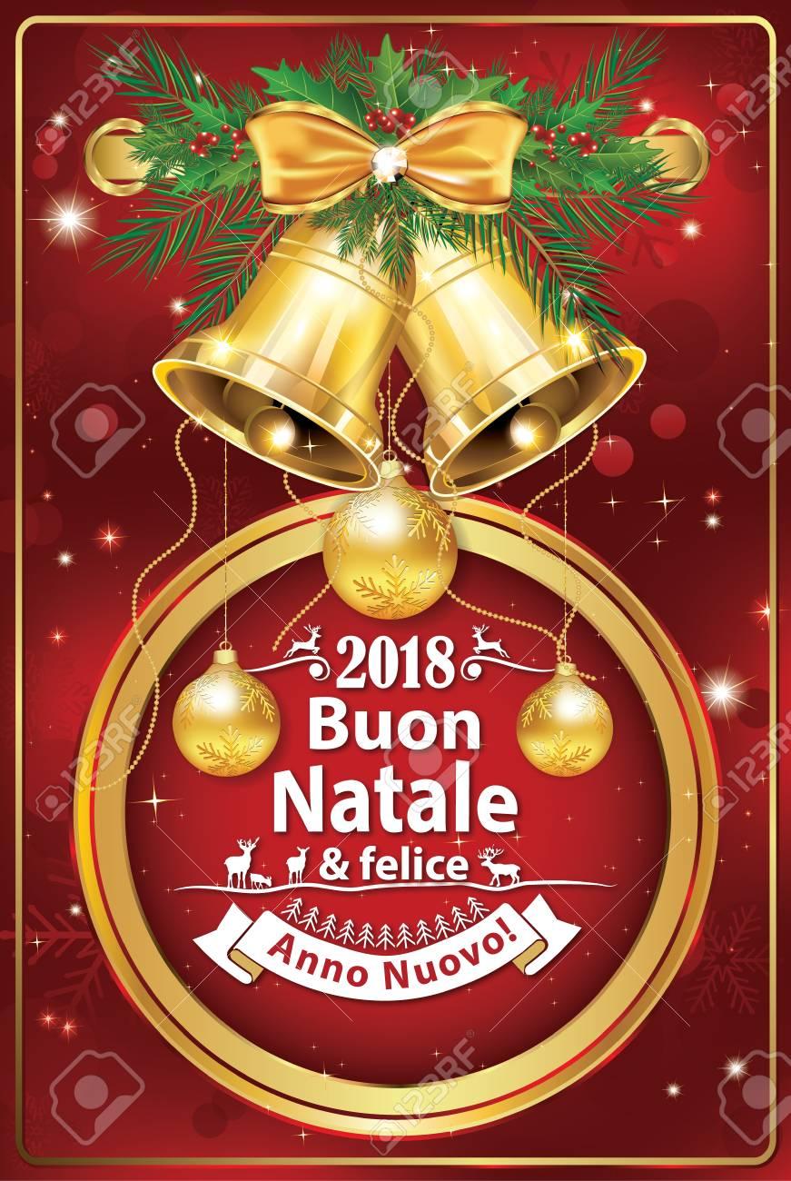 Felicitacion Navidad Personalizada Fotos.Feliz Navidad Y Feliz Ano Nuevo Tarjeta De Felicitacion Italiana Para Navidad Y Ano Nuevo 2018 Colores De Impresion Utilizados Tamano De Una