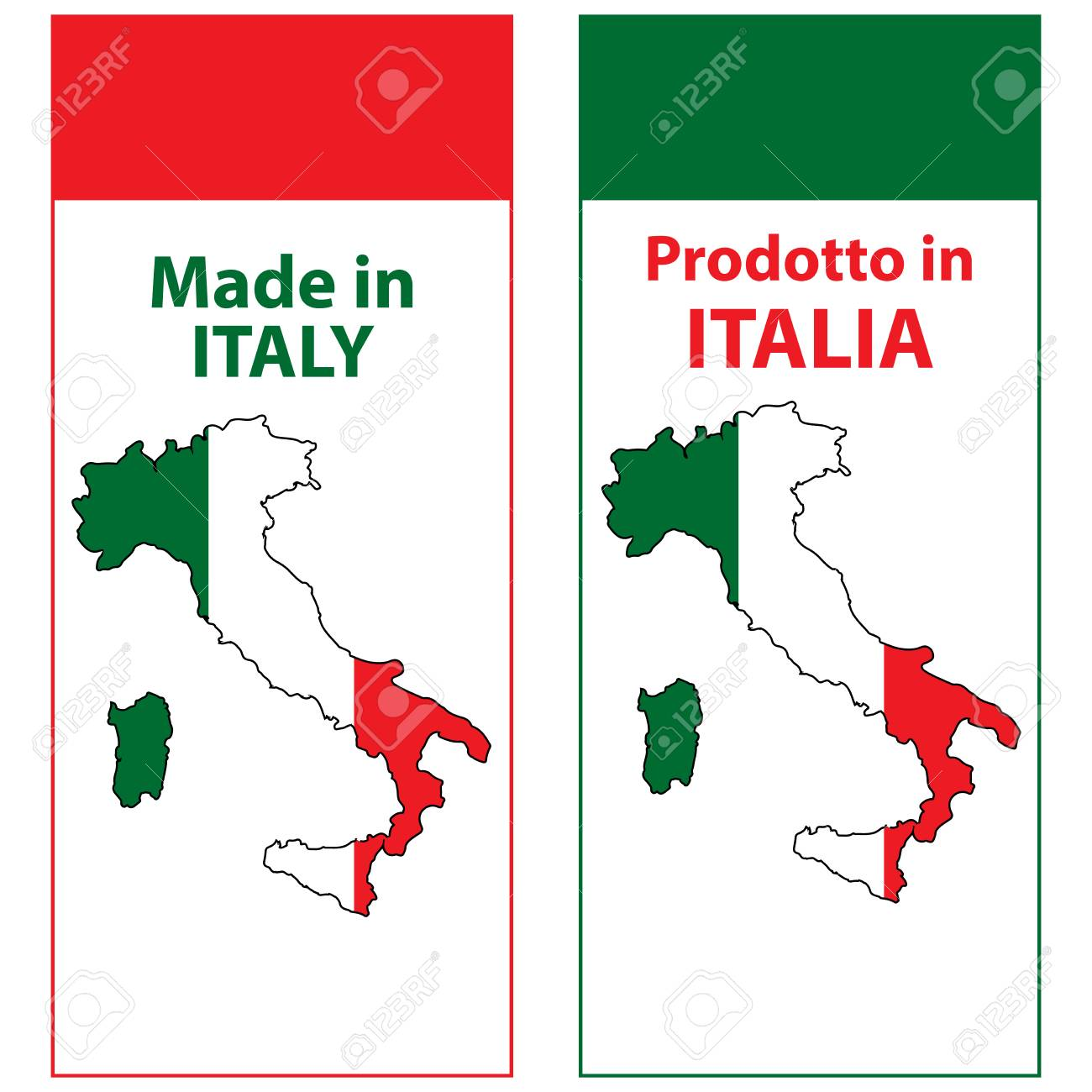 Map Of Italy In English.Made In Italy Prodotto In Italia Sticker Set For Print Designed