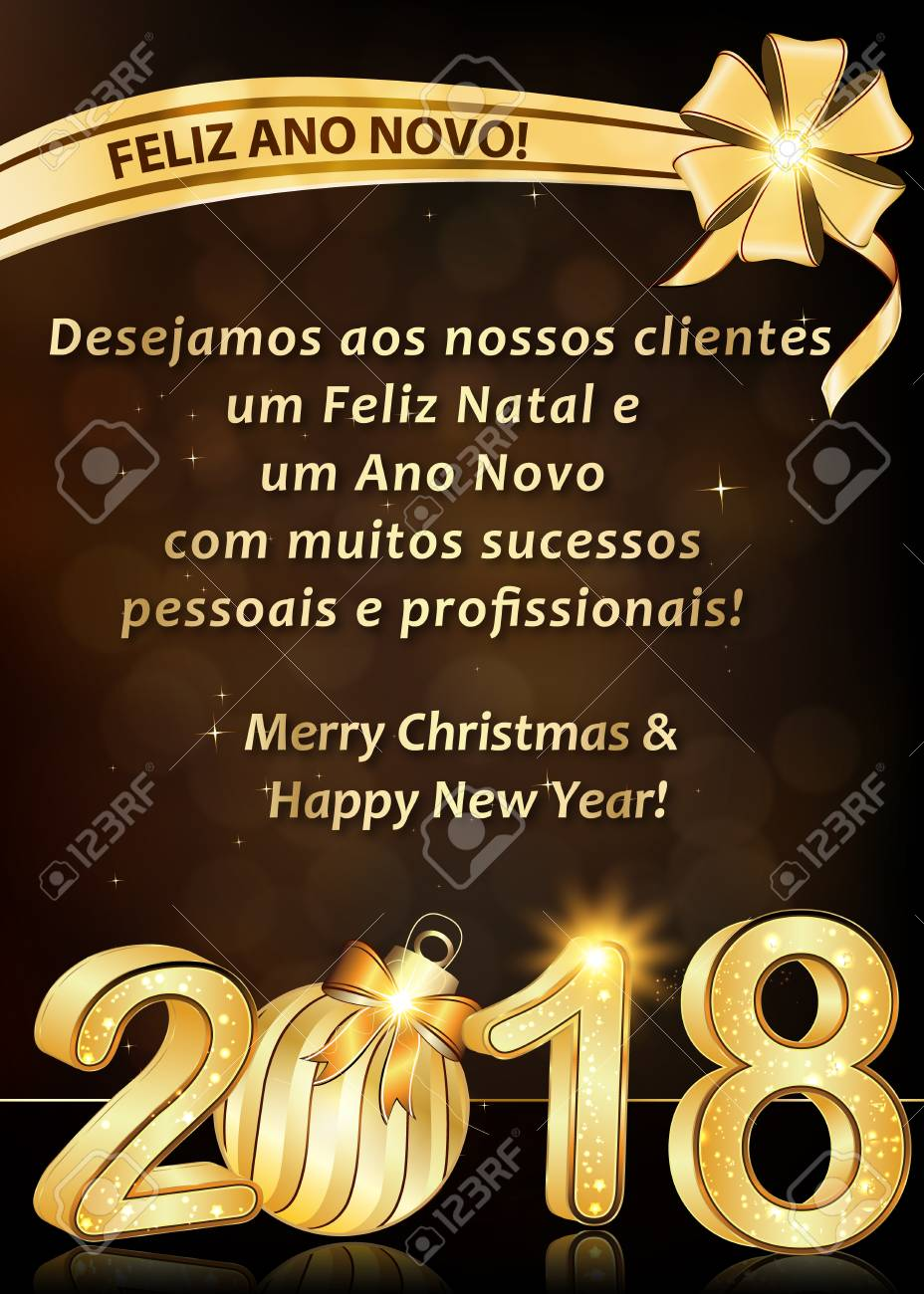 Portuguese Greeting Card For Winter Holidays 2018 Text Translation