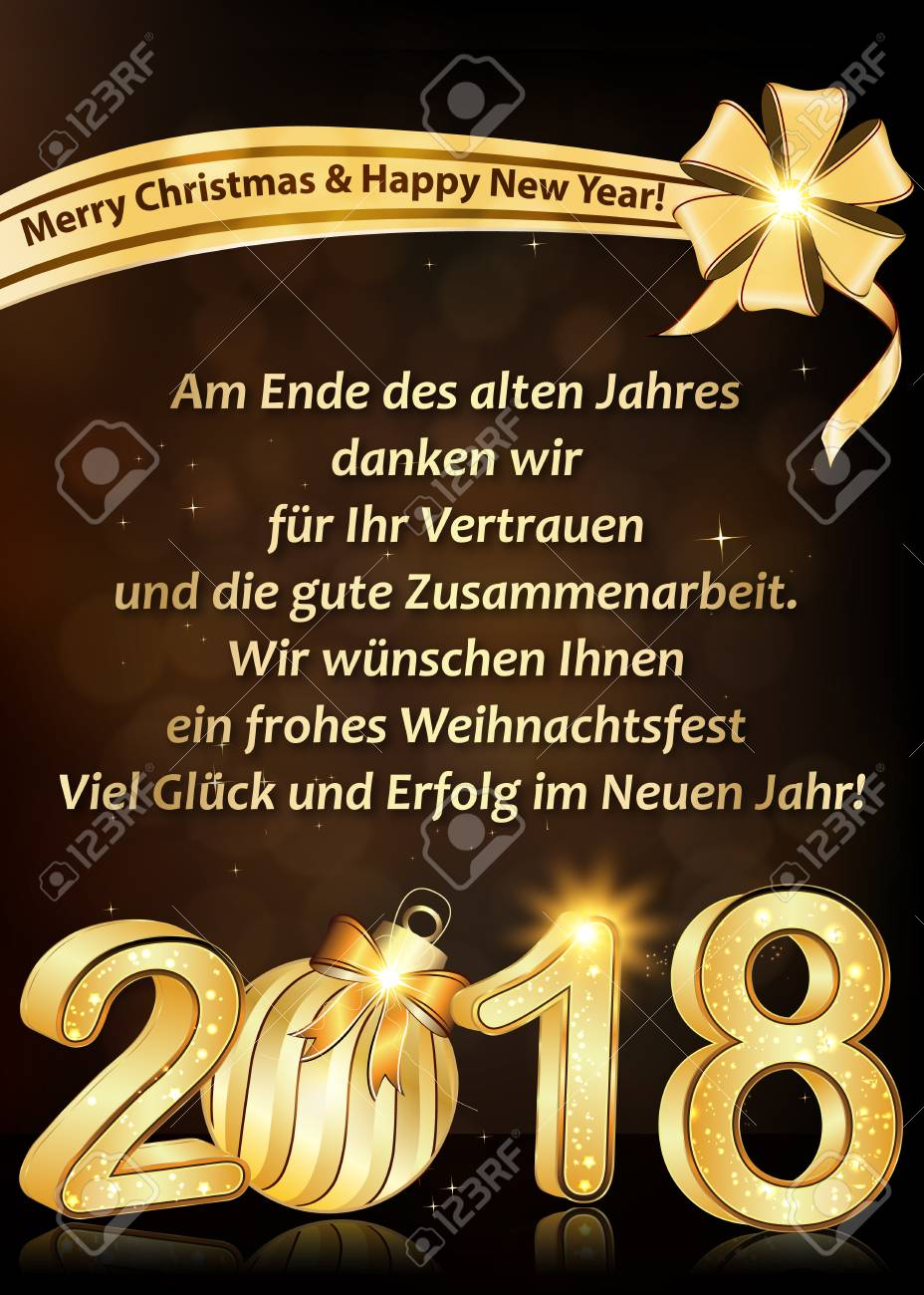 New Year 2018 Greeting Card Designed For The German Speaking Stock