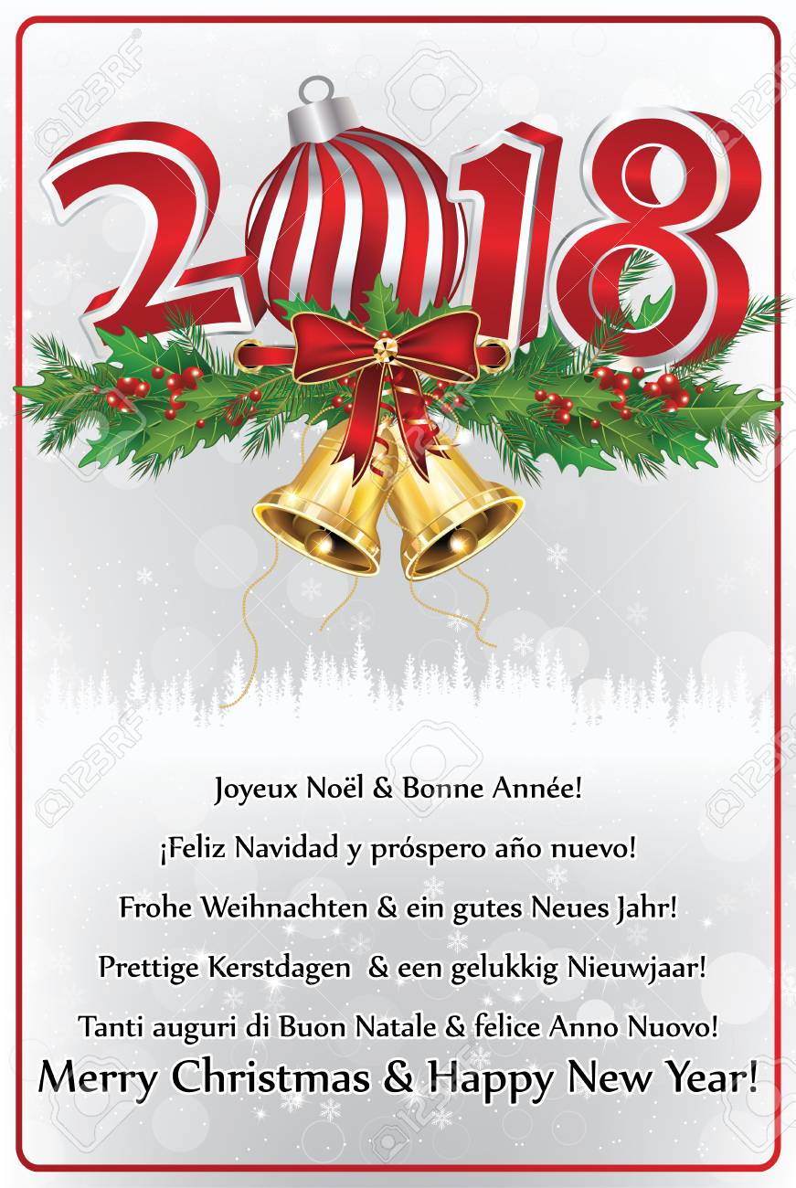 merry christmas and a happy new year 2018 written in various languages greeting card