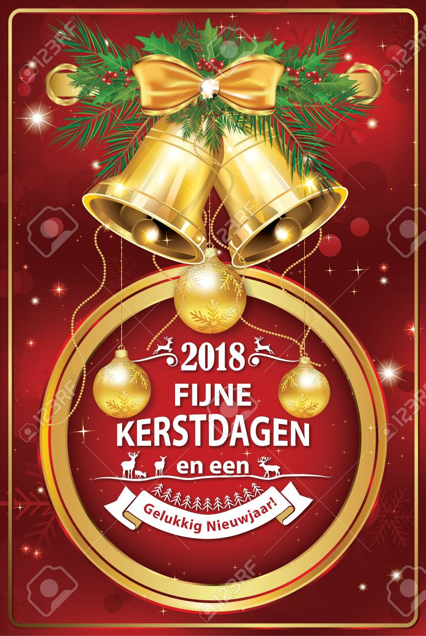 merry christmas and a happy new year 2018 written in dutch greeting card for