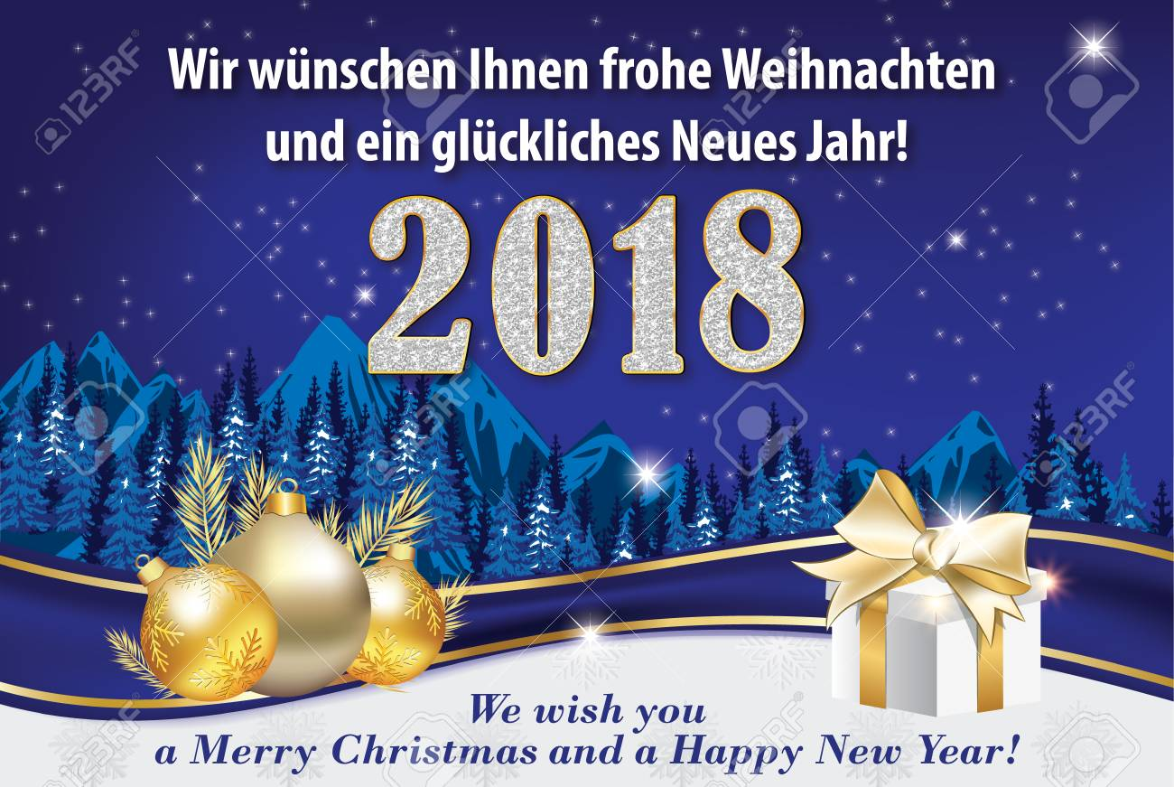 new year 2018 greeting card designed for the german speaking clients text translation merry
