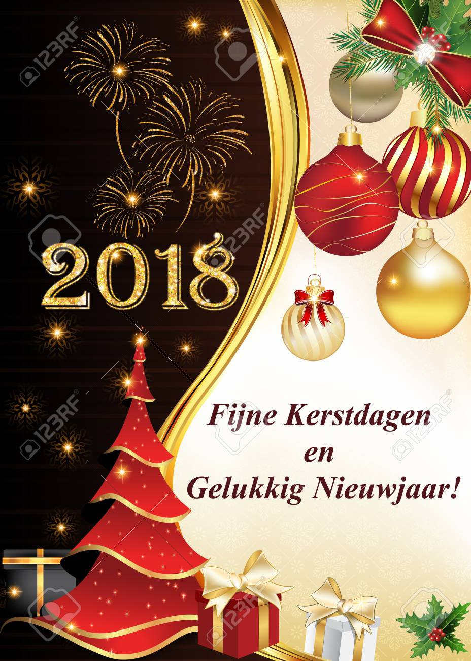 merry christmas and a happy new year 2018 written in dutch blue corporate greeting