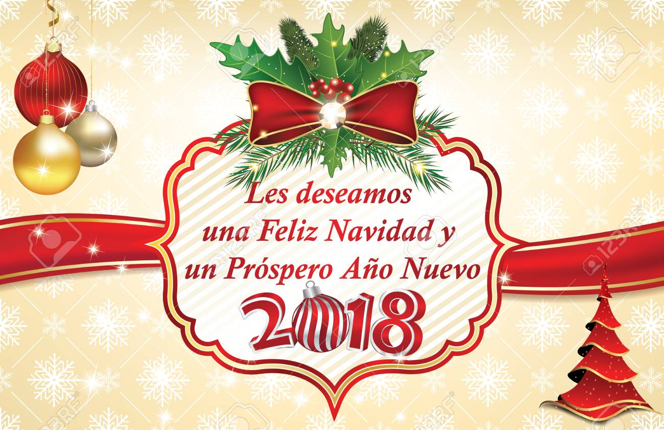 Joyeux Noël Et Bonne Année 2018! écrit En Espagnol   Bleu Carte De