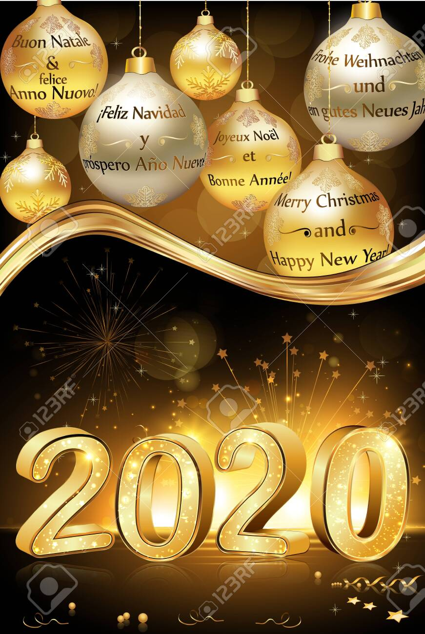 Merry Christmas And Happy New Year 2020 Writing Merry Christmas And Happy New Year 2020 Written In Many Languages