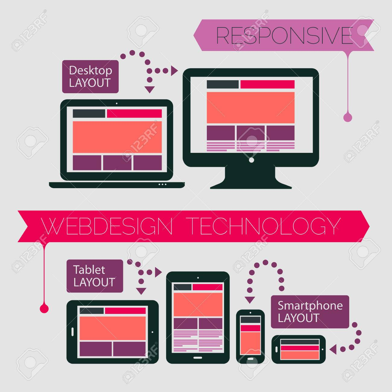 Responsive Webdesign Technology Page Design Template On Light
