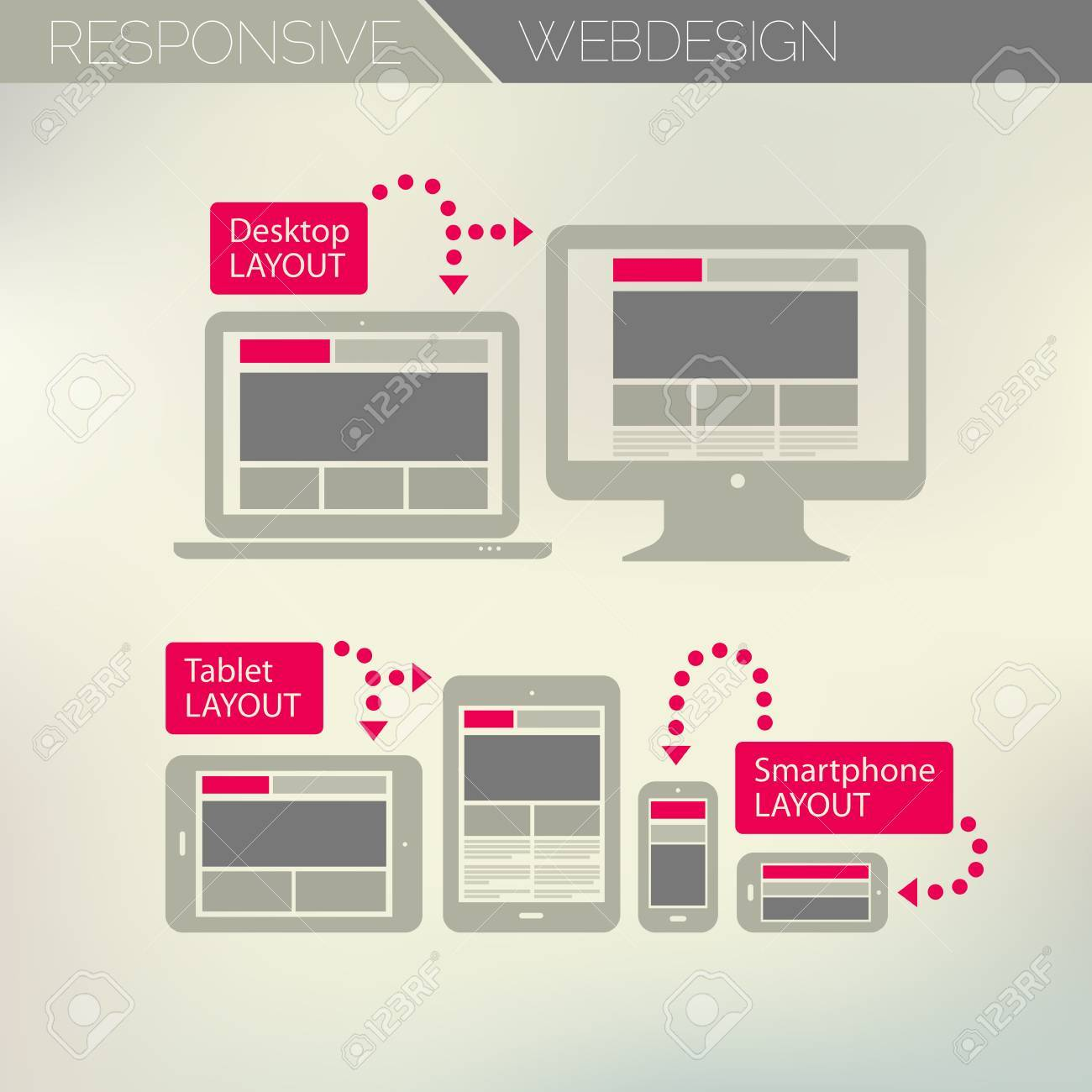 Responsive Webdesign Technology Page Design Template Concept Royalty