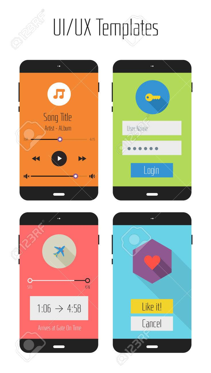 Modern Flat Design UI Mobile Application Templates Royalty Free ...