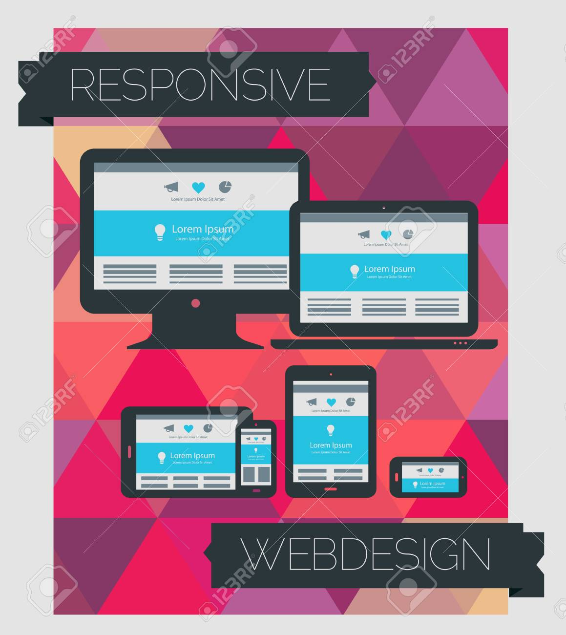 Responsive Webdesign Technology Page Design Template On Geometrical