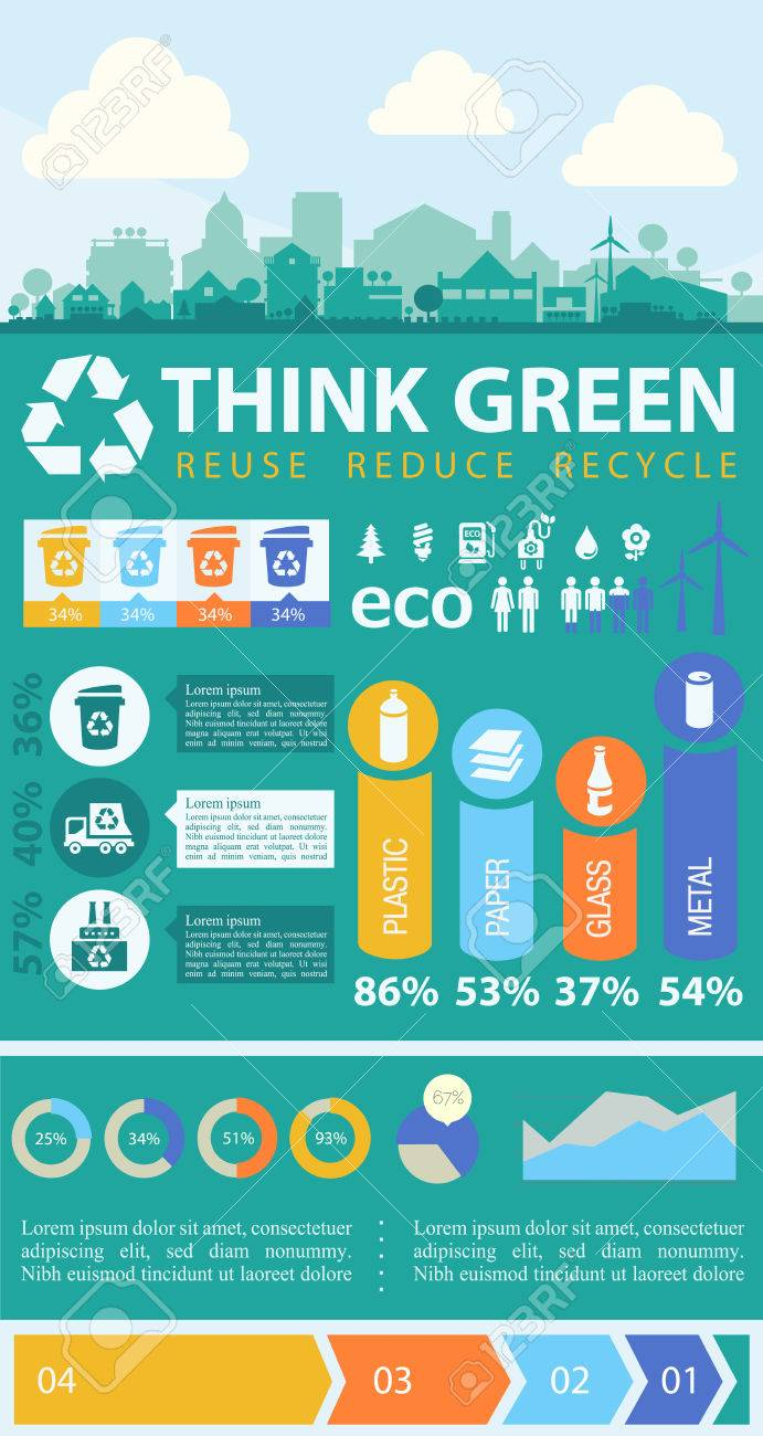 Waste segregation and recycling infographics with elements - 46086317