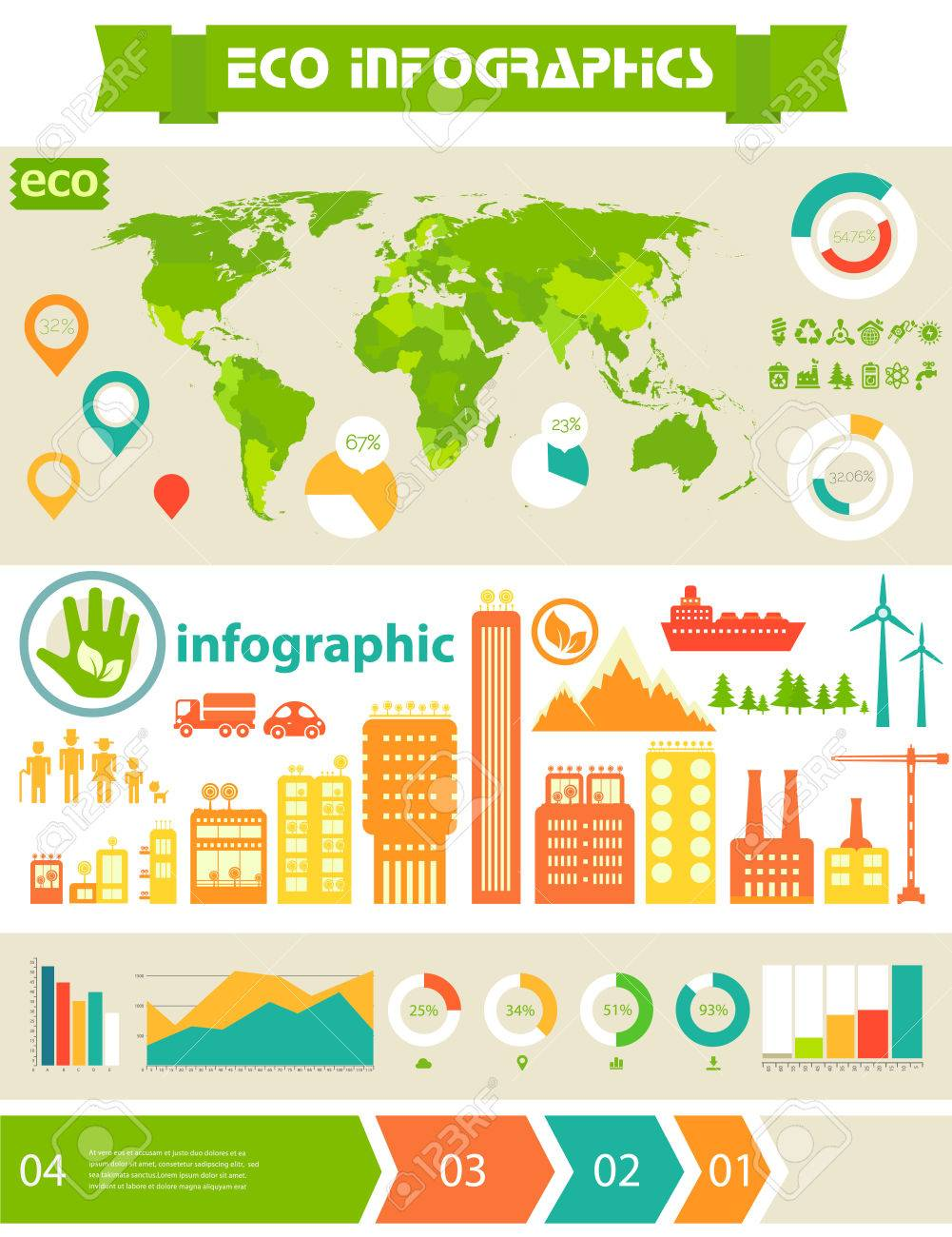 Flat Ui Design Futuristic Eco City Infographics Template With Steps Option Banners Collection And World Map