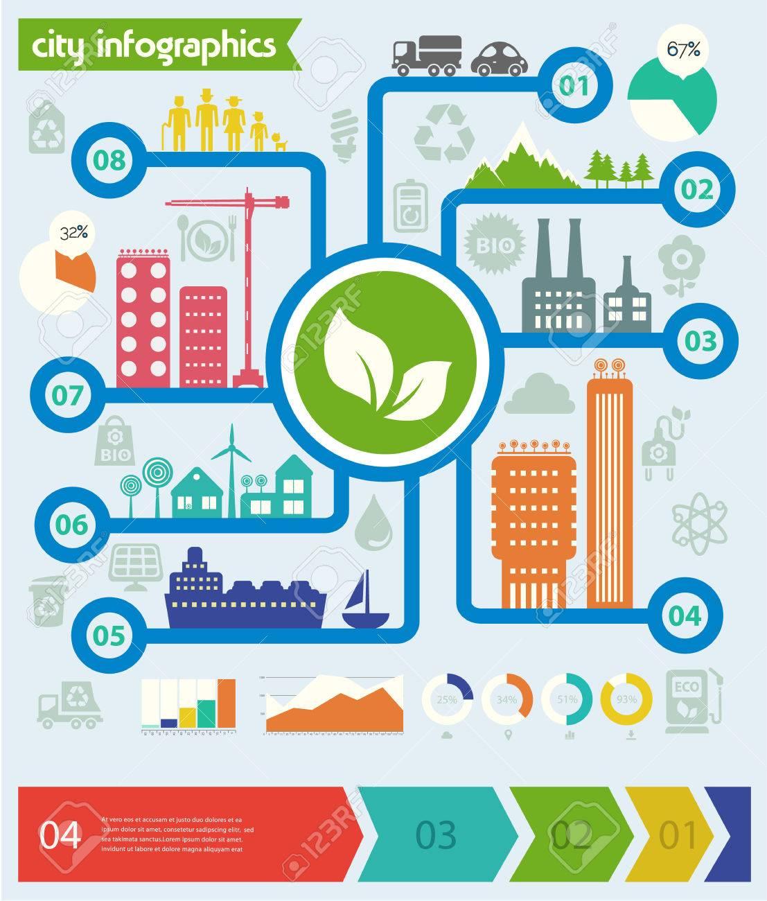 Flat Design Futuristic Eco City Infographic Template Stock Vector