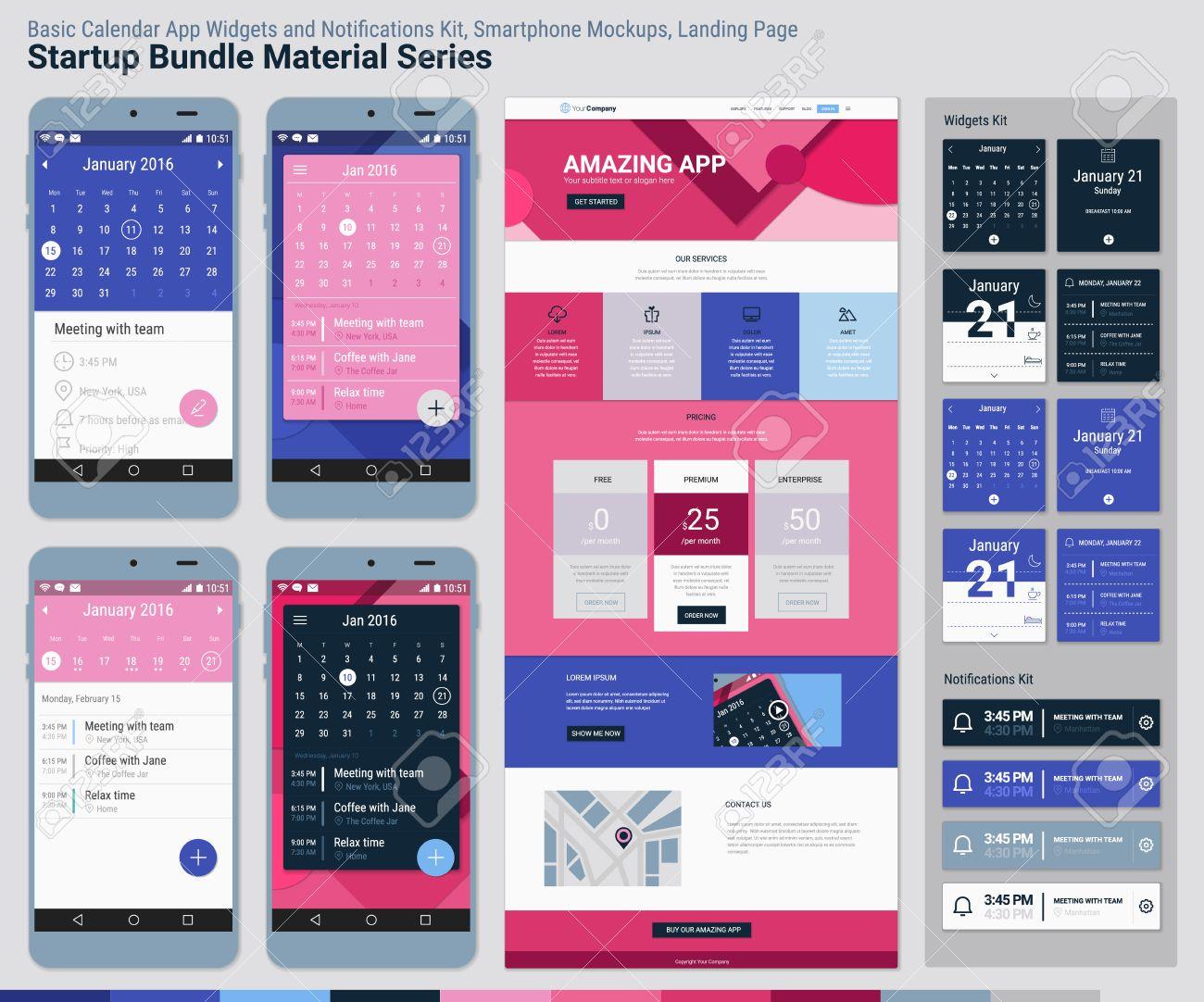 Material Design Responsive Pixel Perfect Ui Mobile Calendar App