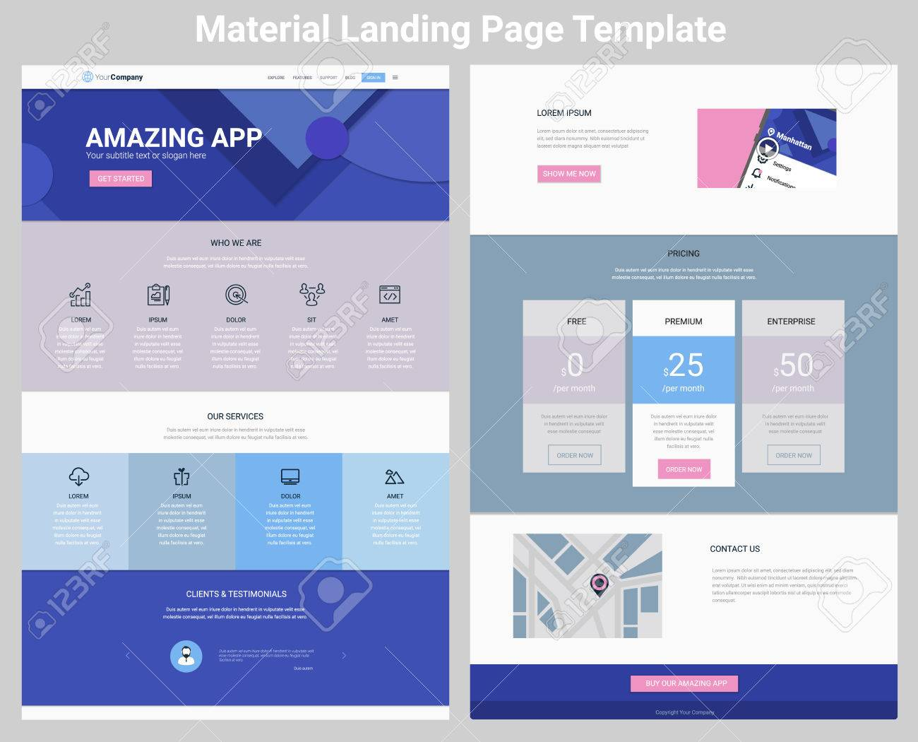 Material Design Responsive Landing Page Or One Page Website Template