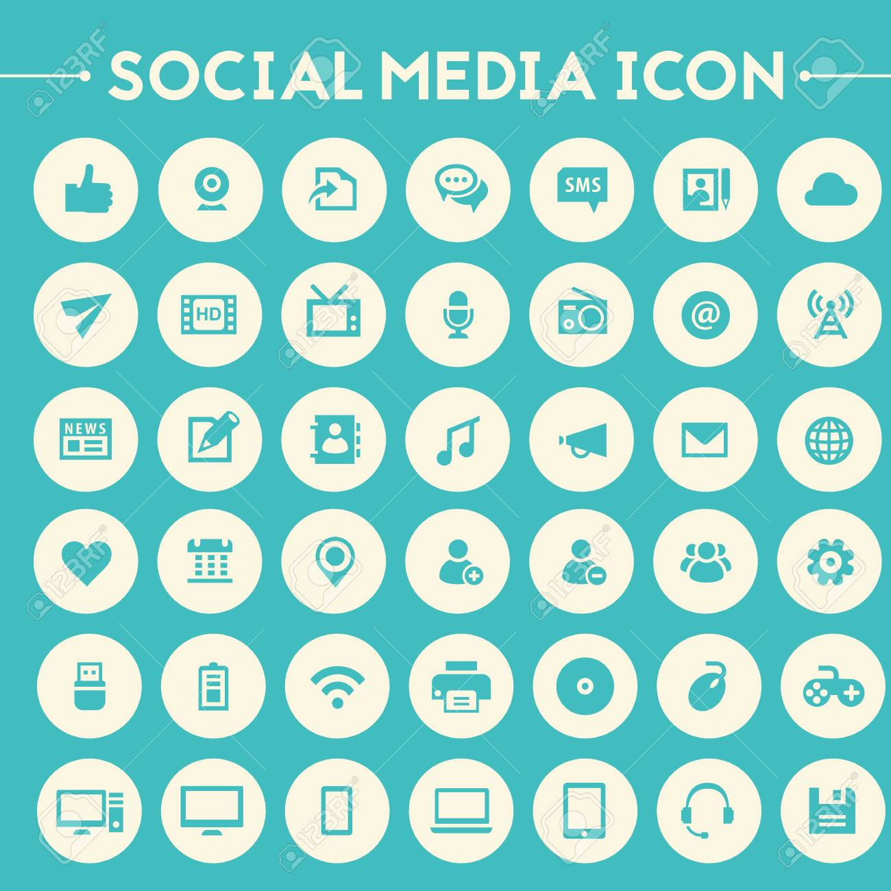 Trendy Flat Design Big Social Media Icons Set On Bright Round Royalty Free Cliparts Vectors And Stock Illustration Image 61449060