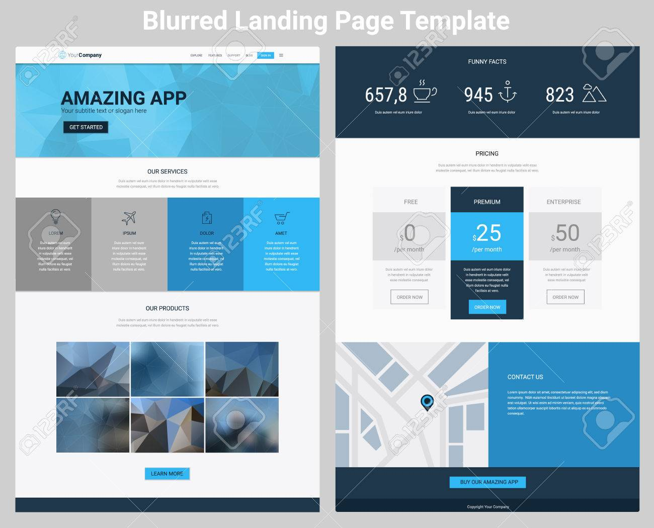 Material Design Responsive Landing Page Or One Page Website Template ...