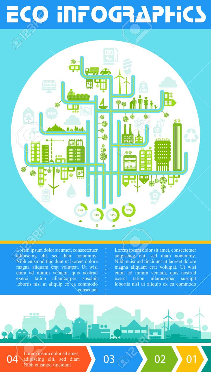 Flat Style Design Futuristic Eco City Infographic With Options Banners Stock Vector
