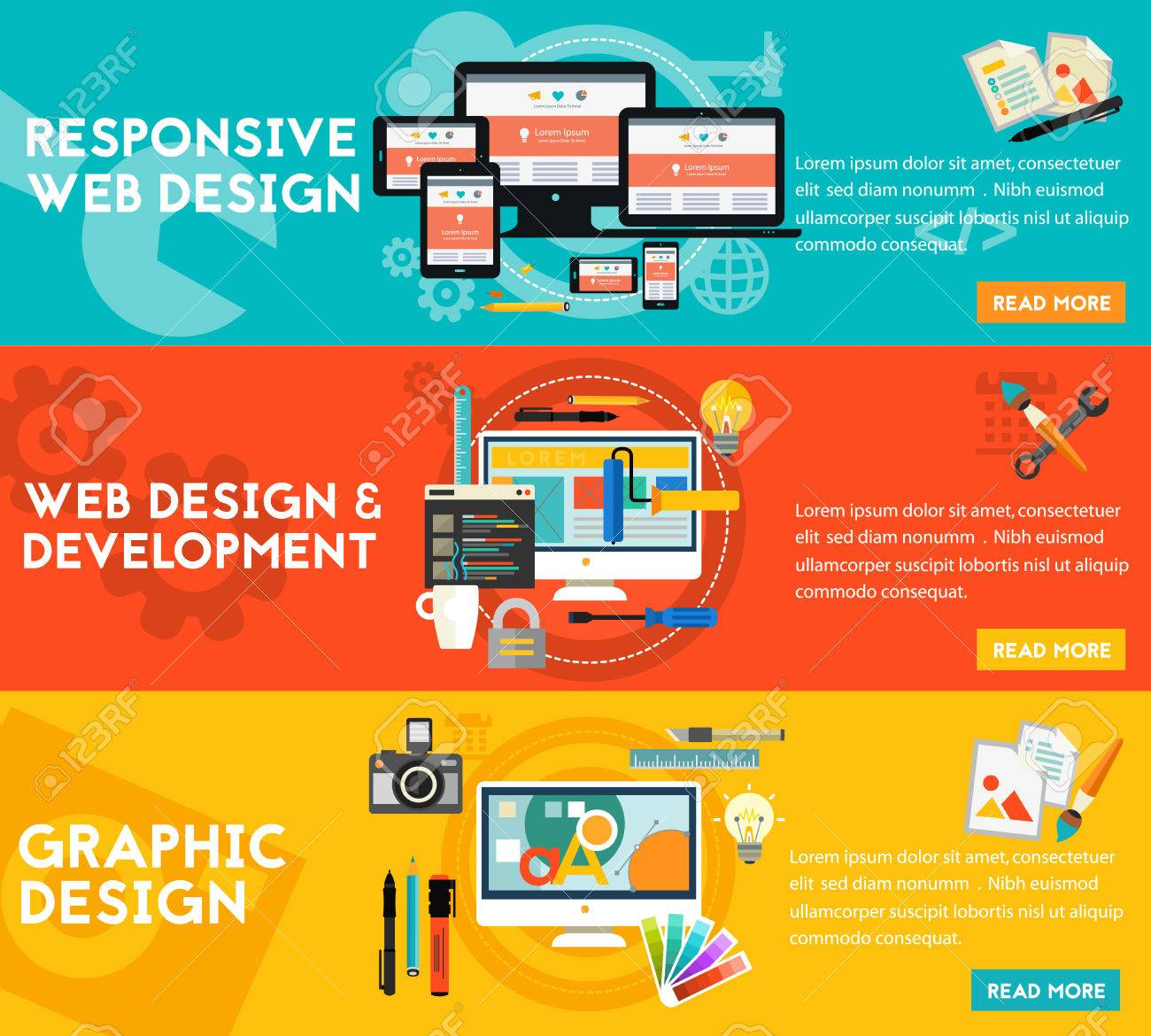 Graphic design, responsive webdesign and freelance concept. Horizontal banners - 67410179