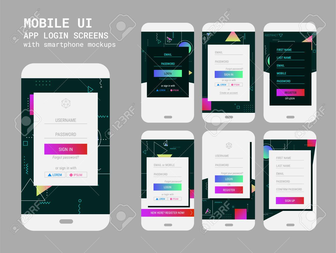 abstract geometric ui sign in and sign up screens mockup kit royalty
