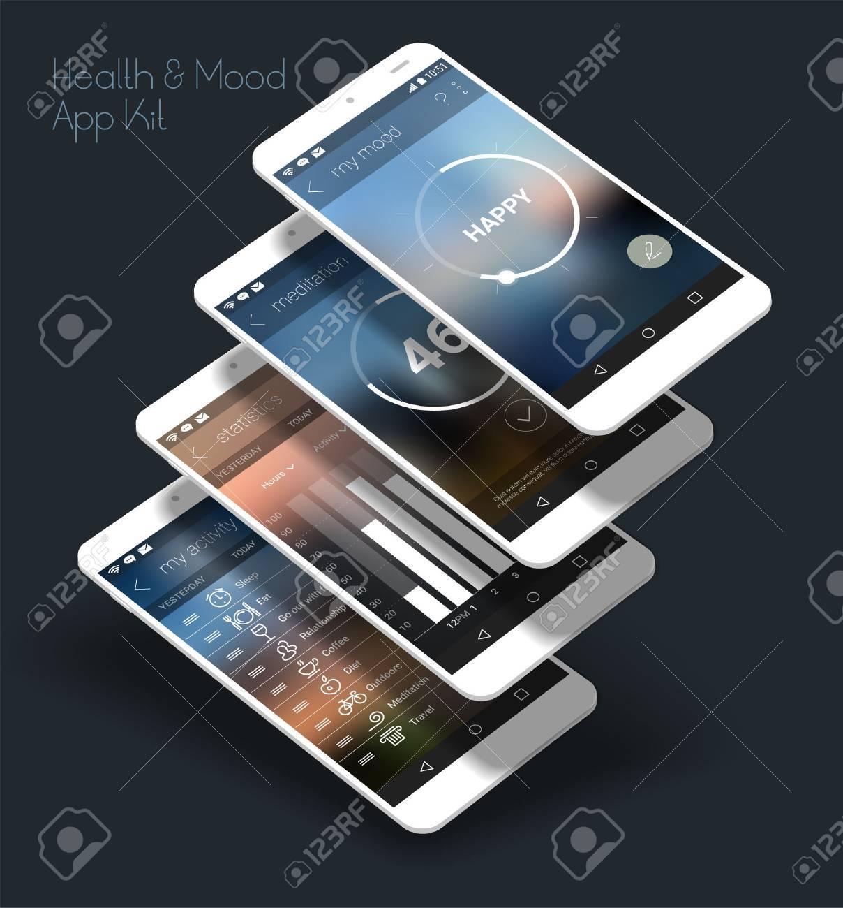 flat design responsive health and mood control ui mobile app