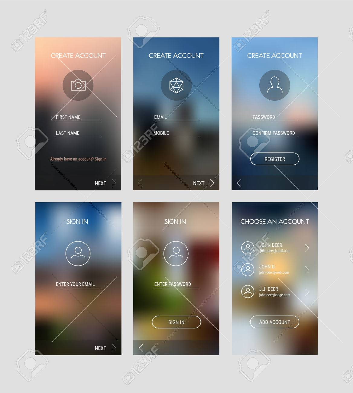 trendy responsive mobile ui templates of login and registration