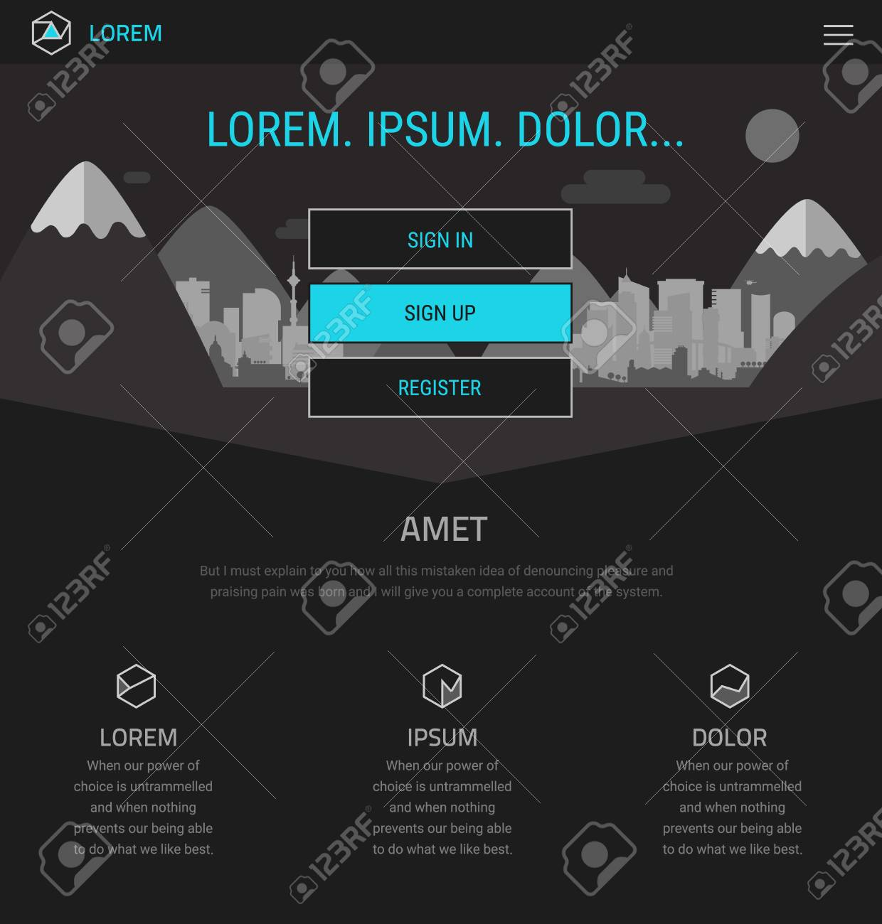 Trendy Responsive Landing Page Or One Page Website Template ...