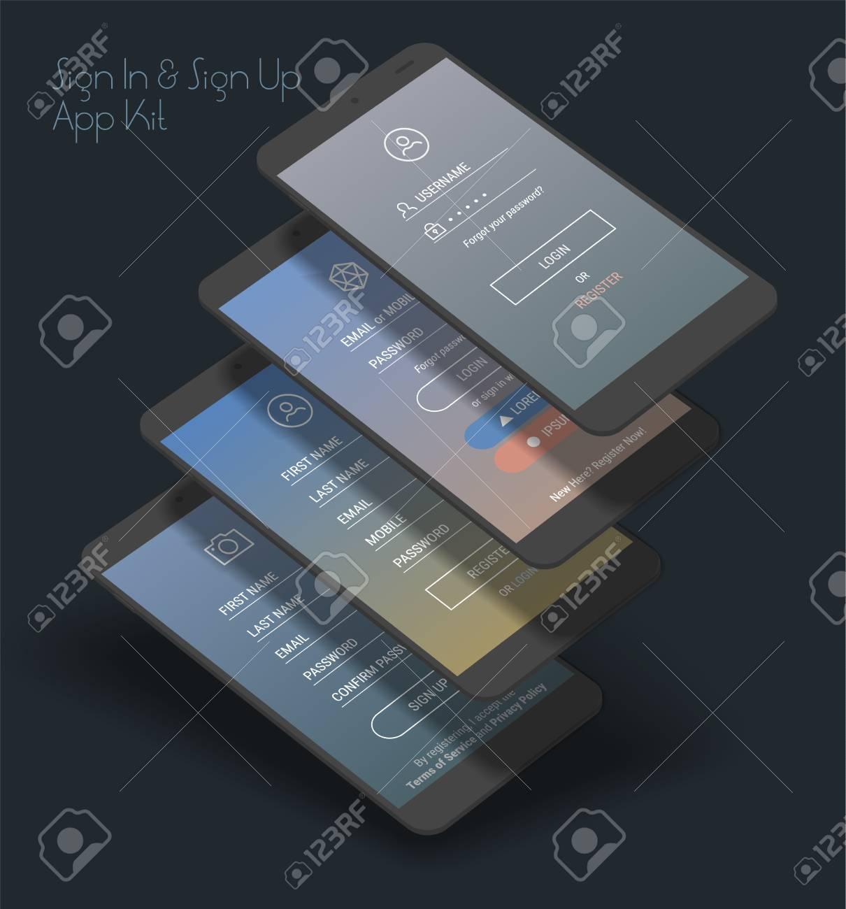 Trendy Three-dimensional Responsive Mobile UI Templates Of Login ...
