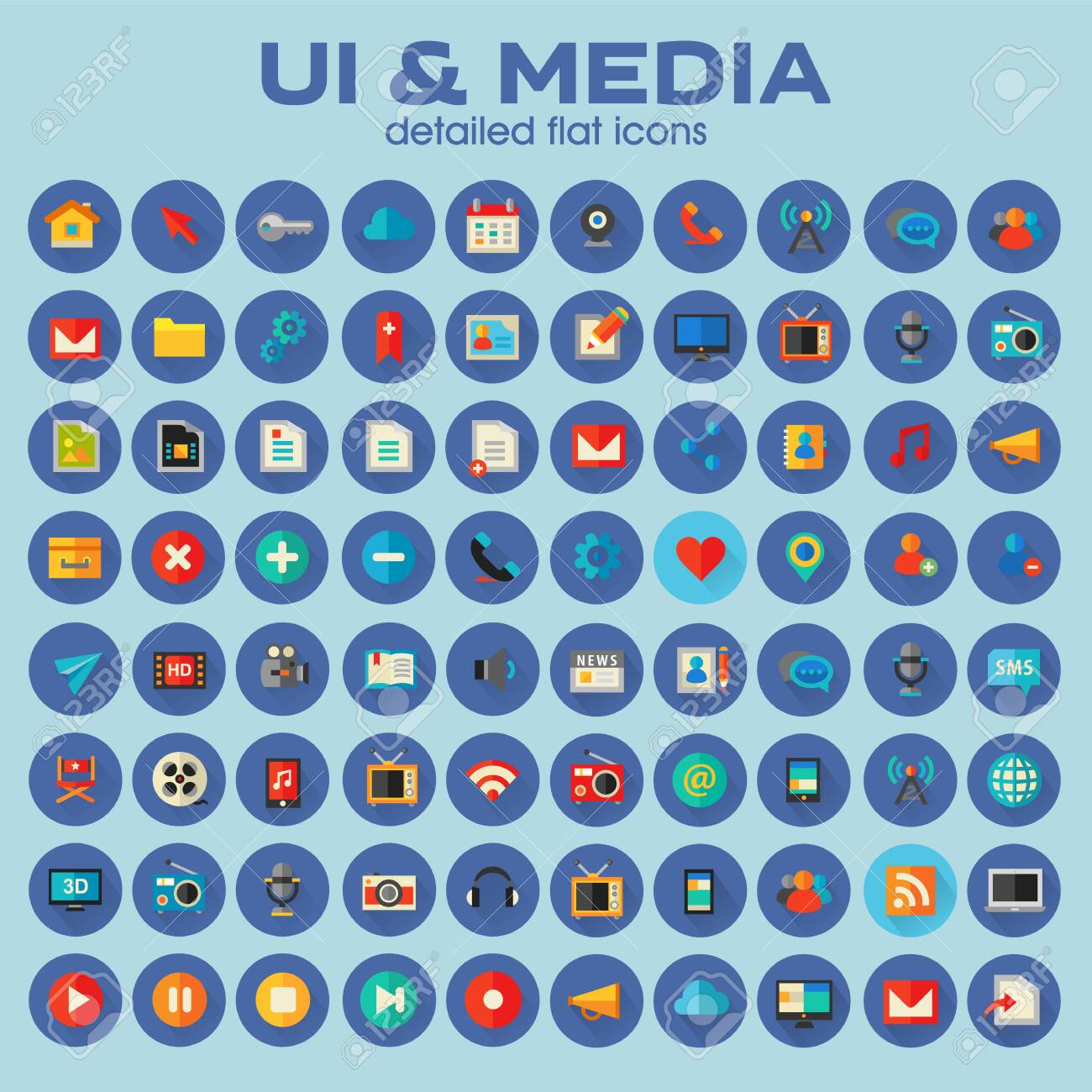 Ui and Multimedia big icon set, trendy flat icons - 134880070