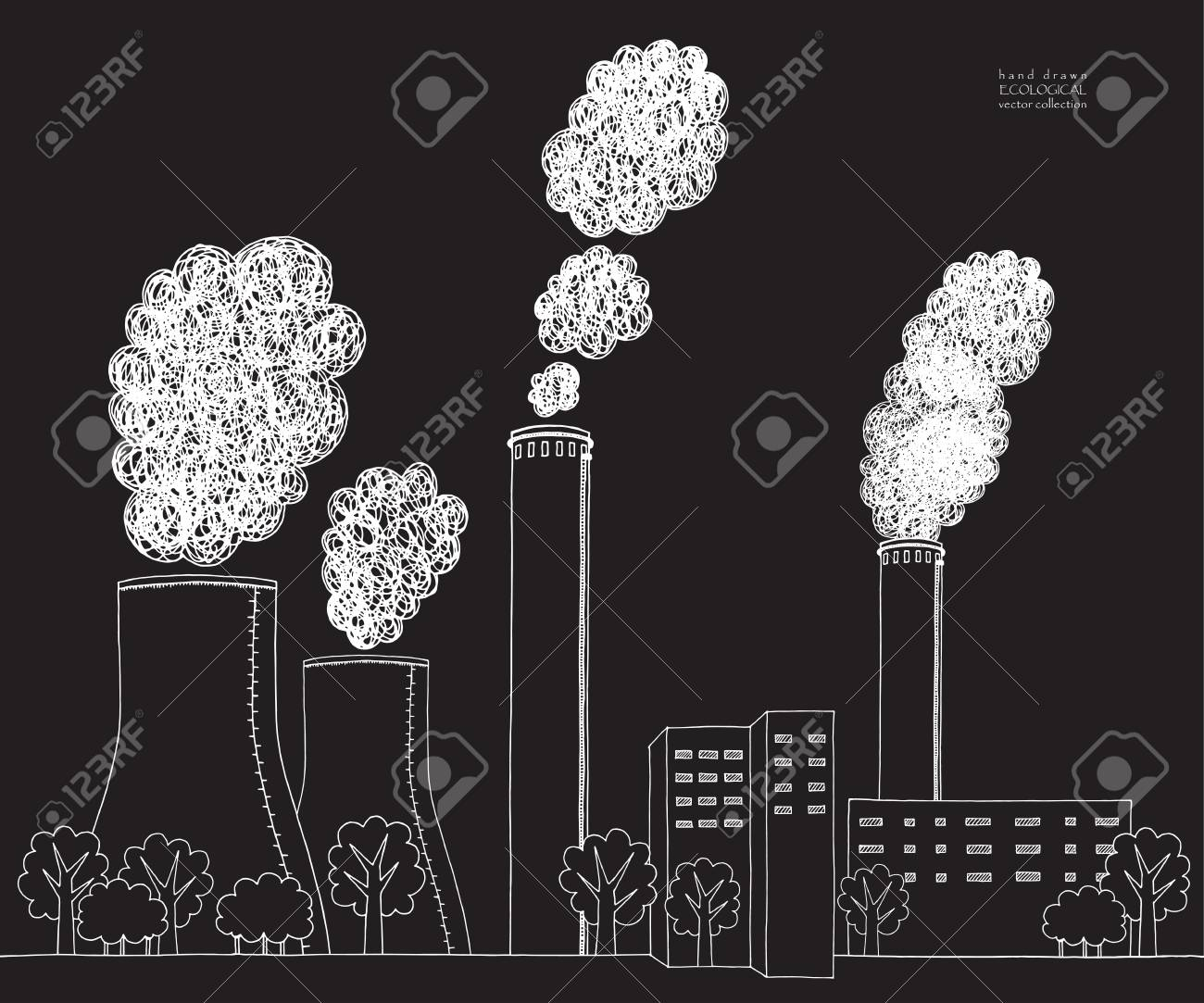 White smokestack on black background illustration of air pollution