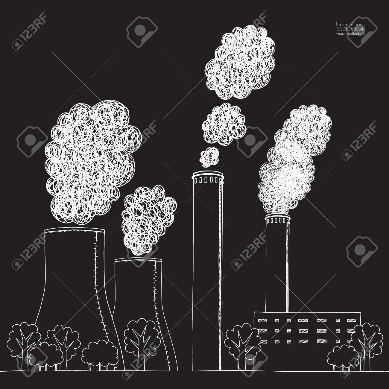 White smokestack on black background illustration of air pollution