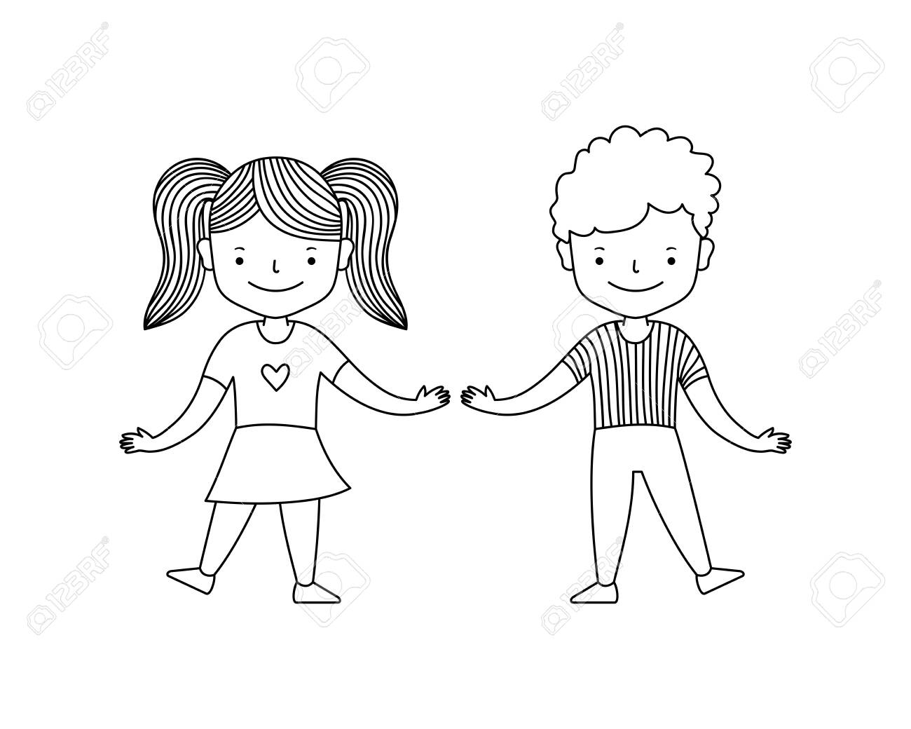 Cute Happy Children Boy With Girl Dancing Cartoon Style Black Royalty Free Cliparts Vectors And Stock Illustration Image 139172498