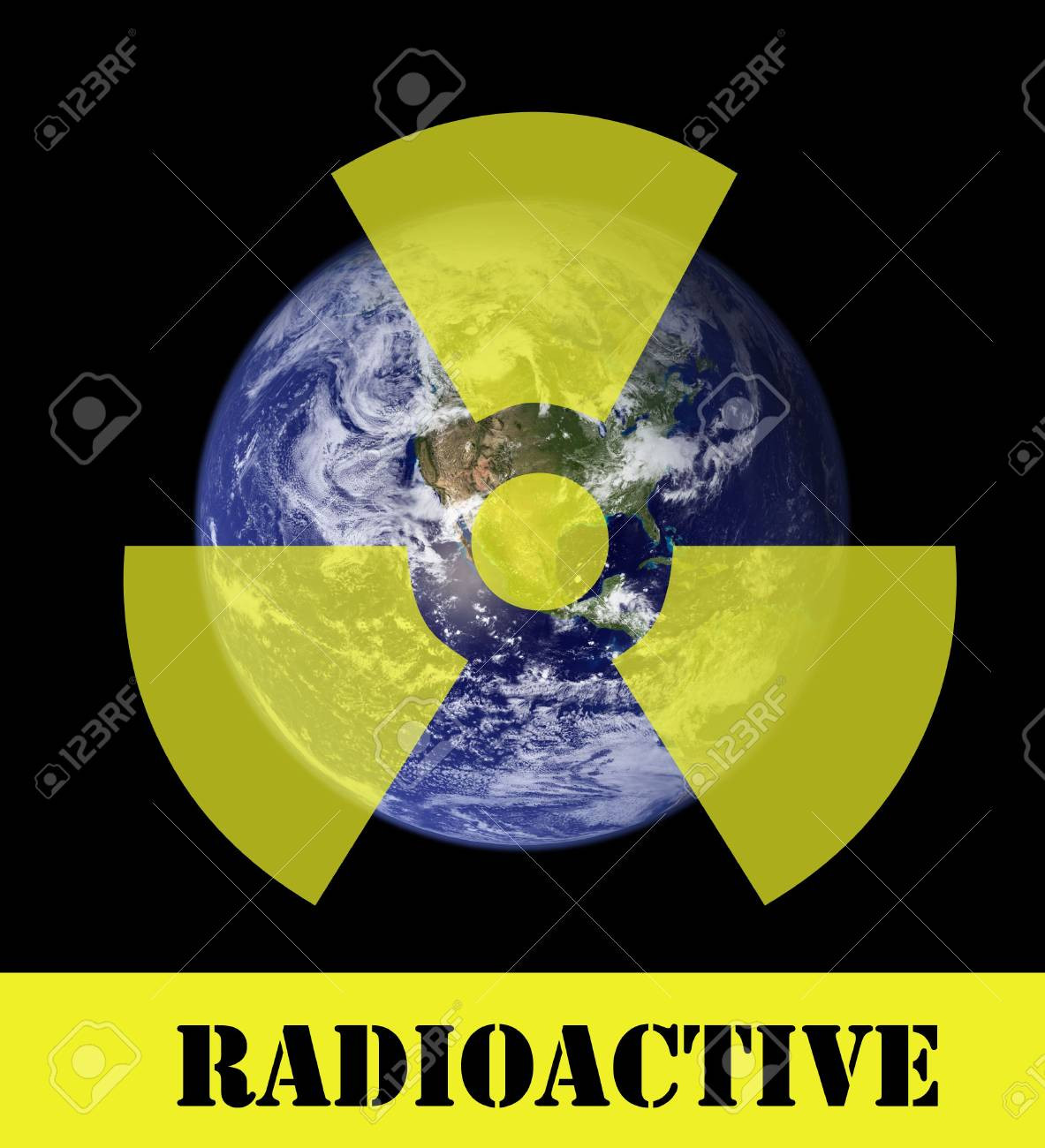 A radioactive sign above a picture of the earth. Earth picture from Nasa. Stock Photo - 6481312