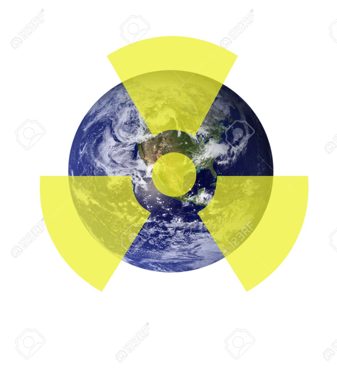 A radioactive sign above a picture of the earth. Earth picture from Nasa. Stock Photo - 6481284