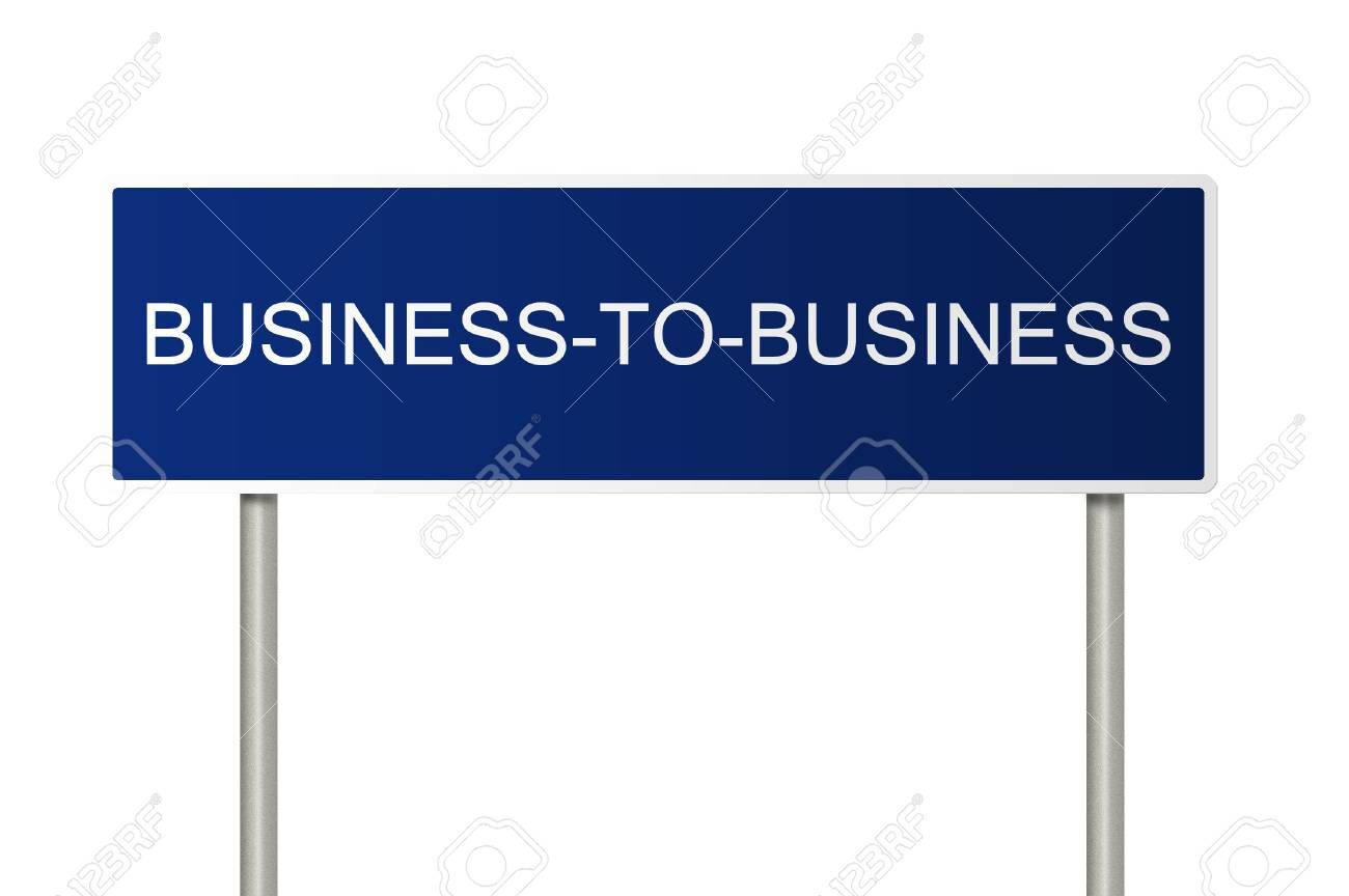 A blue road sign with white text saying Business-to-Business Stock Photo - 6768302