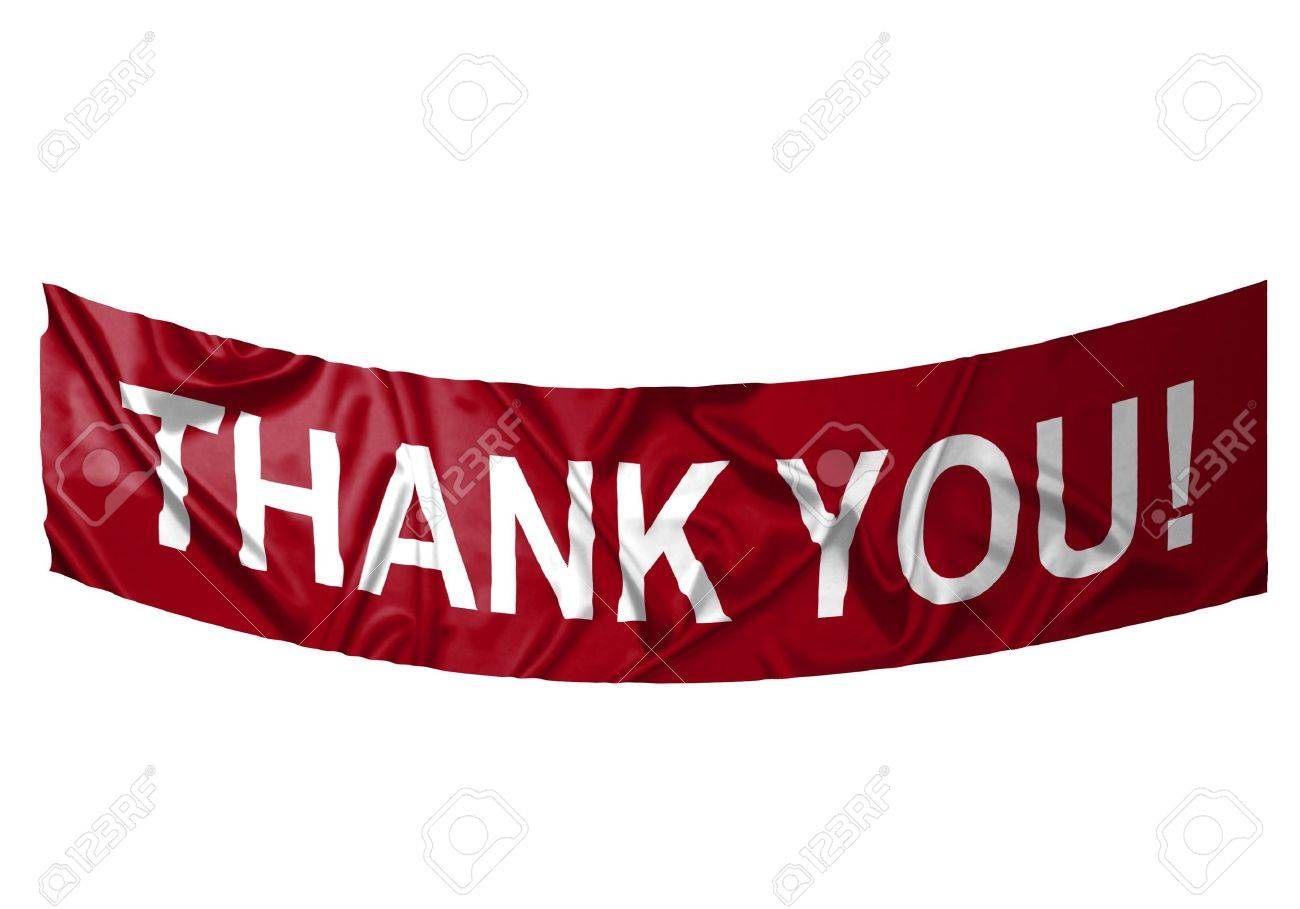 A red banner with white text saying Thank you Stock Photo - 6845638