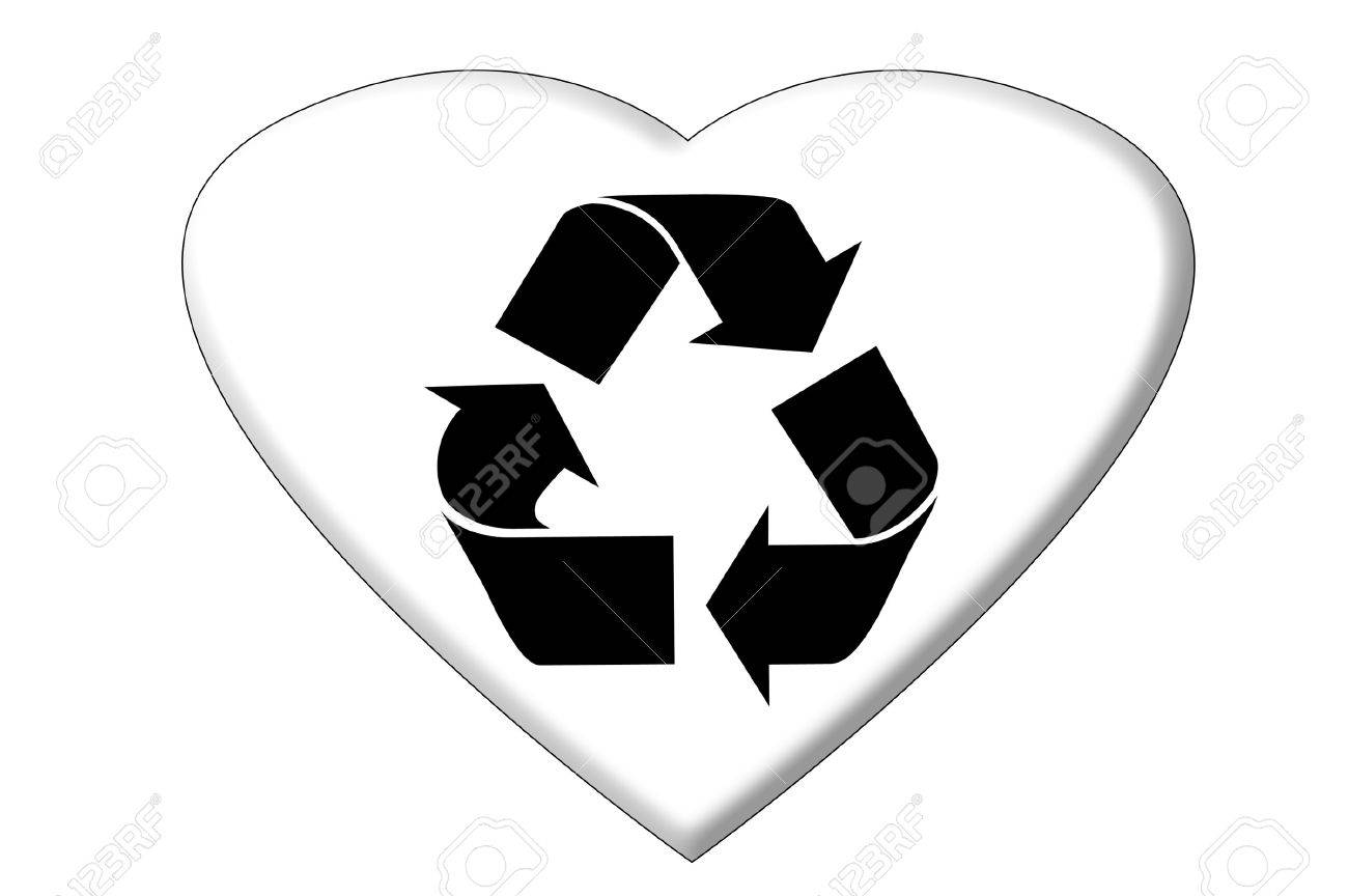A Heart In The Shape Of The Recycling Symbol Stock Photo Picture