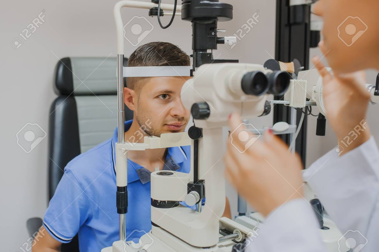 Young Beautiful Woman Doctor Eye Specialist Optometrist In An Stock Photo Picture And Royalty Free Image Image 88679985