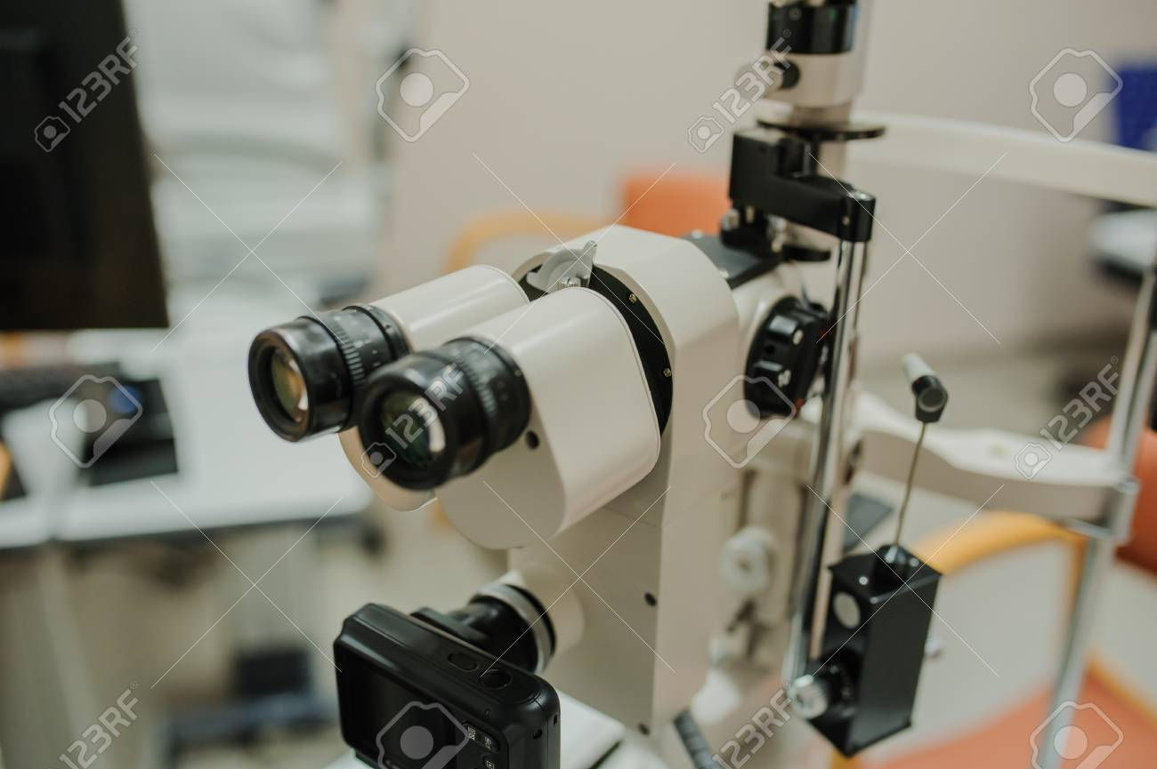 An Ophthalmologic/eye Clinic Examination Equipment : Slit Lamp Examination  With Biomicroscopy Stock Photo