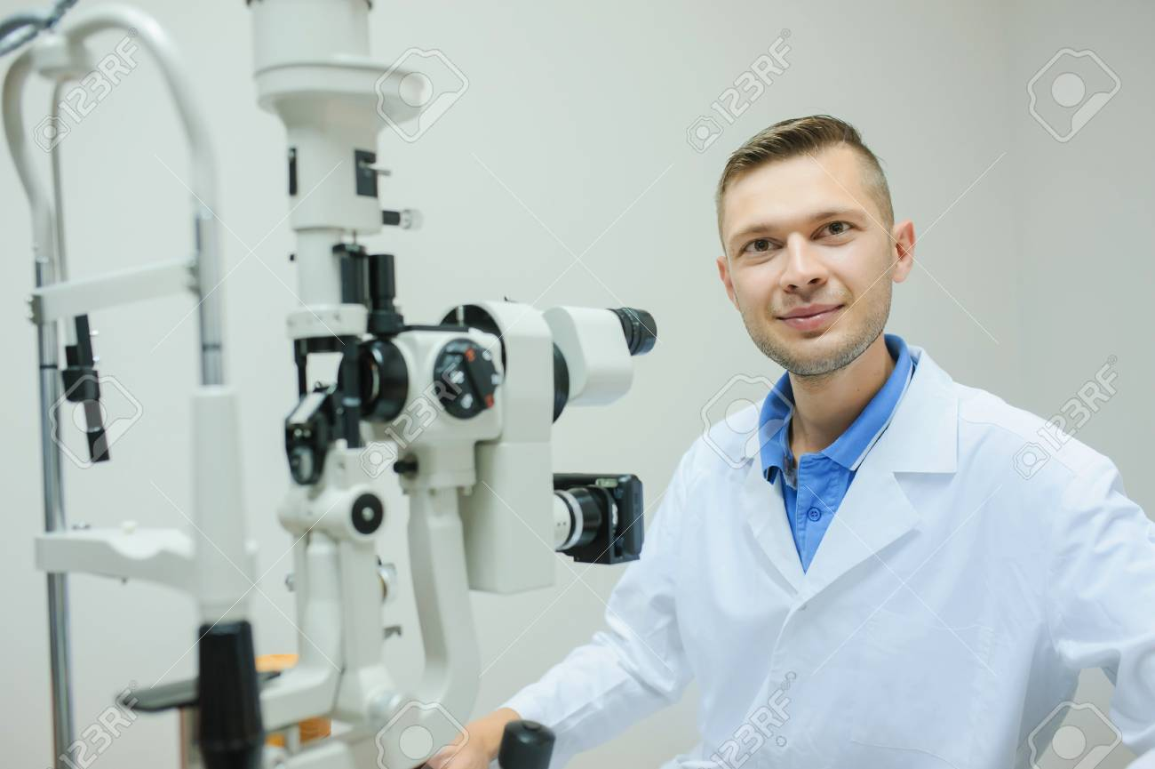 Young Beautiful Doctor Eye Specialist Optometrist In An Ophthalmologic Stock Photo Picture And Royalty Free Image Image 88721928